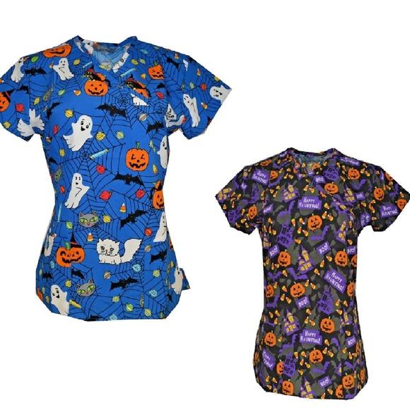 19ecf45ab03 Scrubtribe Tops | Halloween Scrub Lot Of 2 Sizes Xs S M L Xl | Poshmark
